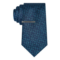 J.Ferrar Navy Ground Abstract Tie With Tie Bar