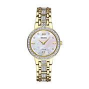 Seiko Crystal Womens Gold Tone Bracelet Watch-Sup364