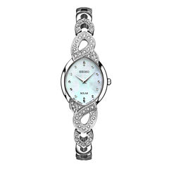 Seiko Crystal Womens Silver Tone 2-pc. Watch Boxed Set-Sup367