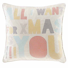 Madison Park Secret Holiday Message Square Throw Pillow