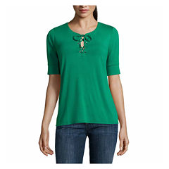 Liz Claiborne Short Sleeve Y Neck T-Shirt-Talls
