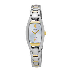 Seiko® Womens Two-Tone Rectangular Solar Bracelet Watch SUP318
