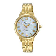 Pulsar® Womens Gold-Tone Mother-of-Pearl Solar Bracelet Watch
