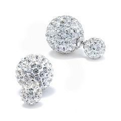 Crystal Sterling Silver Peek-A-Boo Stud Earrings