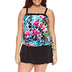 Le Cove Floral Blouson Swimsuit Top - Plus