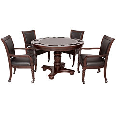 Hathaway Bridgeport 2-in-1 Poker Game Table Set - Walnut Finish