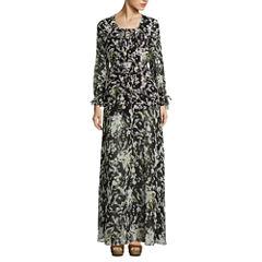 Belle + Sky Long Sleeve Lace Up Maxi Dress