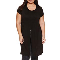 Boutique + Short Sleeve Split Front Knit Tunic Top Plus