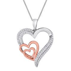ForeverMine® 1/4 CT. T.W. Diamond Two-Tone Triple-Heart Pendant Necklace