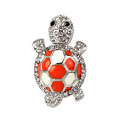 Bleu™ Silver-Tone Orange Turtle Stretch Ring