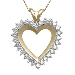 1 CT. T.W. Diamond 10K Yellow Gold Heart Pendant Necklace