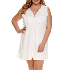 a.n.a Zip Front Leaf Jacquard Swimsuit Cover-Up Dress-Plus