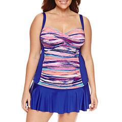 Liz Claiborne Stripe Tankini Swimsuit Top-Plus