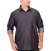 Claiborne® Long-Sleeve Chambray Button-Front Cotton Shirt - Big & Tall