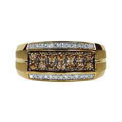 Mens 3/4 CT. T.W. White and Color-Enhanced Champagne Diamond Ring