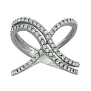 Crystal Sterling Silver Double X Ring