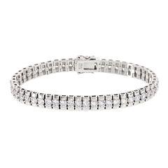 DiamonArt® 15.8 CT. T.W. Cubic Zirconia Sterling Silver Double Tennis Bracelet