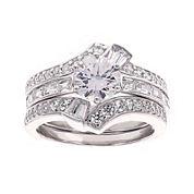 DiamonArt® Cubic Zirconia Sterling Silver Bridal Ring Set