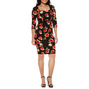 Bisou Bisou 3/4 Sleeve Print Sheath Dress