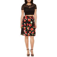 Bisou Bisou Lace Top/Poppy Print Skirt Set