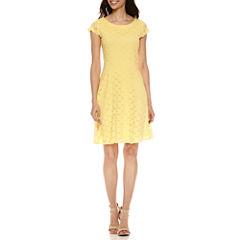 Ronni Nicole Short Sleeve Lace Fit & Flare Dress