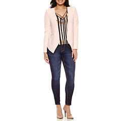 Bisou Bisou Seamed Open Blazer, Cold Shoulder Cage Top or 5-Pocket Denim Skinny
