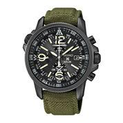Seiko® Prospex Mens Green Nylon Strap Chronograph Solar Watch SSC295
