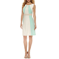 Studio 1 Sleeveless Eyelet Lace Inset Fit & Flare Dress