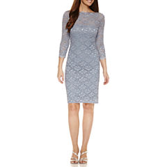 Onyx Nites3/4 Sleeve Sheath Dress