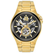 Bulova Mens Gold Tone Bracelet Watch-98a178