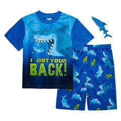 2-pc. Short Sleeve Shark Pajama SetWith Toy Big Kid Boys