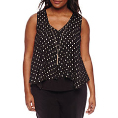 by&by Sleeveless V Neck Chiffon Blouse-Juniors Plus