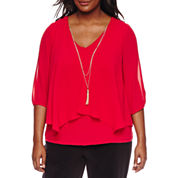 by&by 3/4 Sleeve V Neck Chiffon Blouse-Juniors Plus