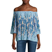 i jeans by Buffalo 3/4 Pleated Off The Shoulder Top