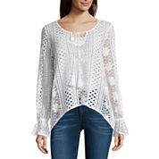 i jeans by Buffalo Long Sleeve Round Neck Crochet Top