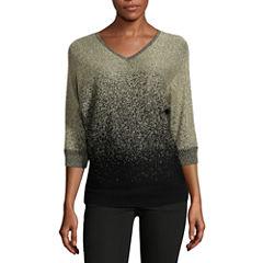 Alyx 3/4 Sleeve V Neck Pullover Sweater