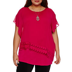 Alyx Short Sleeve Lace Trim Woven Overlay Blouse with Necklace-Plus