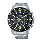 Pulsar® Mens Stainless Steel Chronograph Watch PT3641X