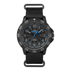 Timex® Rugged Mens Black Fabric Strap Watch