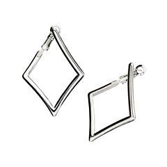 Stainless Steel Diamond-Shaped Drop Earrings