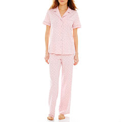 Liz Claiborne® Short-Sleeve Shirt and Pants Knit Pajama Set