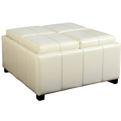 Jacqueline Square Bonded Leather Storage Ottoman