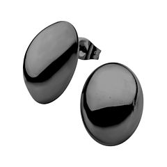 Stainless Steel and Black IP 13x18mm Hollow Button Stud Earrings