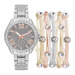 Womens Silver-Tone Watch Box Set