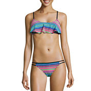 Arizona Stripe Flounce Swimsuit Top or Braided Side Hipster-Juniors