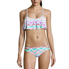 Arizona Geo Linear Flounce Swimsuit Top or Hipster Bottom-Juniors