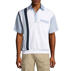 Palmland Short Sleeve Panel Knit Polo Shirt