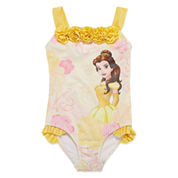 Disney Beauty and the Beast Solid One Piece Swimsuit Toddler Girls
