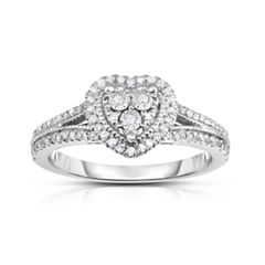 True Miracle Womens 1/4 CT. T.W. White Diamond Sterling Silver Cocktail Ring
