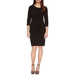 Bisou Bisou 3/4 Sleeve Lined Sheath Dress